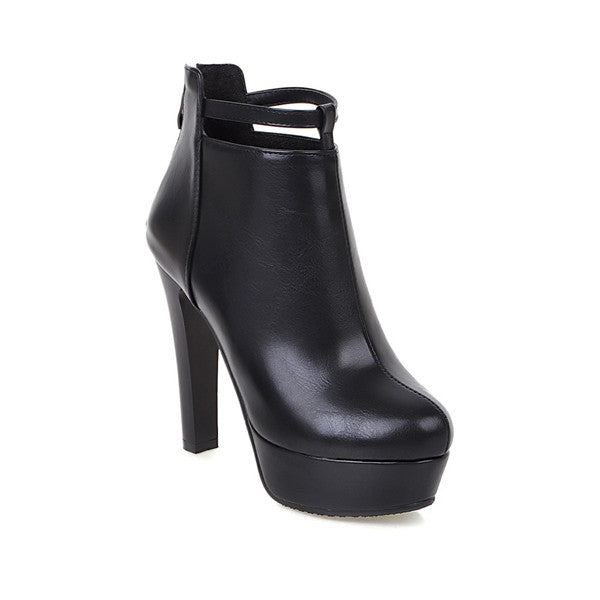 ShoeFits - black ankle high heel boots women fashion shoes