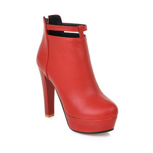 ShoeFits - red ankle high heel boots women fashion shoes