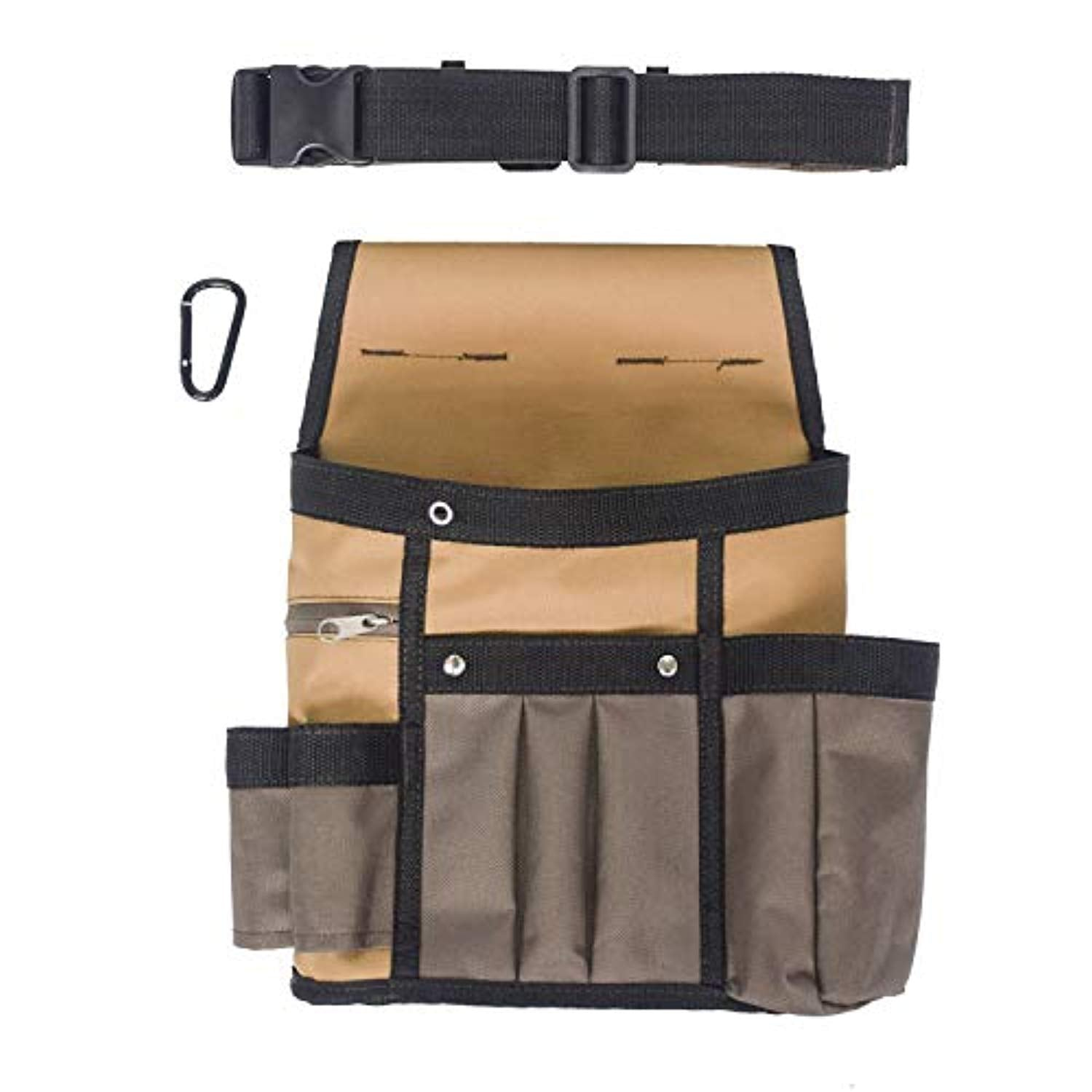 Ationgle Waist Tool Bag,Heavy Duty Canvas Tool Pouch,Adjustable Waist Strap,Durable Maintenance and Electrician's Pouch with Multiple Pockets for Tools,Flashlight,Keys