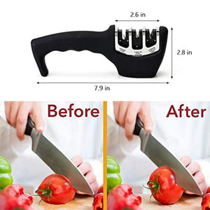 Kitchen Knife Sharpener Stainless Steel 3 Stage Non-Slip Manual Knife Sharpening Tool Helps Repair Restore and Polish Blades Fit for Most Size of Knives Safe and Easy to Use