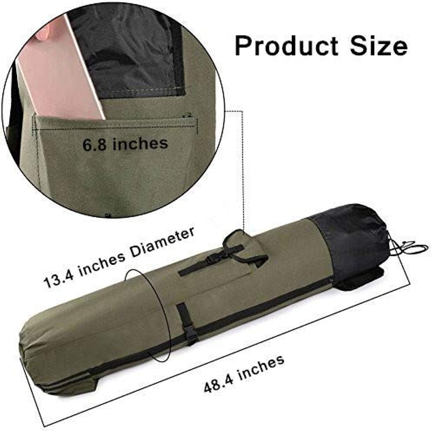 Ationgle Fishing Rod Organizer Bag -Rod & Reel Portable Fishing Pole Storage Bag with Adjustable Shoulder Strap Carrying Case - Holds 5 Poles & Tackle Heavy-Duty, Water-Resistant (ArmyGreen)