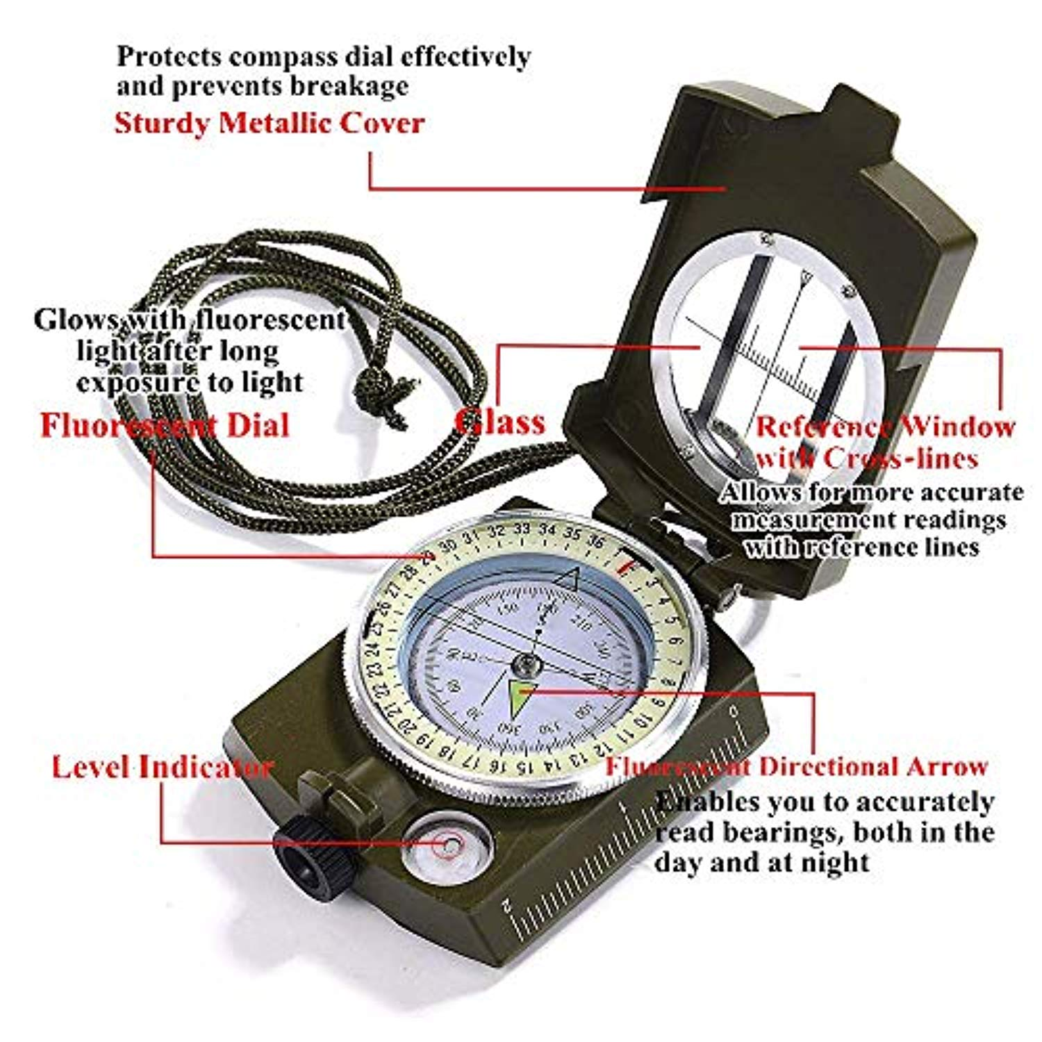 Multifunctional Military Lensatic Tactical Compass Professional Sighting Navigation Compasses Measurer Distance Positioning Waterproof Shakeproof for Hiking Camping Motoring with Carrying Pouch
