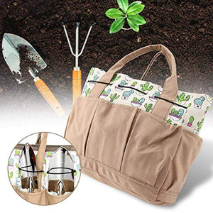 Gardening Tote Bag with Side Pockets & Handles, Canvas Outdoors Equipment Handbags, Wear-Resistant Garden Tool Storage Bag, 8 Outer Pockets and 1 Large Inner Storage Pocket (Tools not included), Khaki