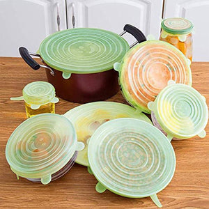 Silicone Stretch Food Covers Lids - 6-Piece, Reusable Bowl Covers, Stretchable&Washable Food Fresh-keeping Silicone Covers, Ationgle Transformable Food Preservation Covers(Light Green)