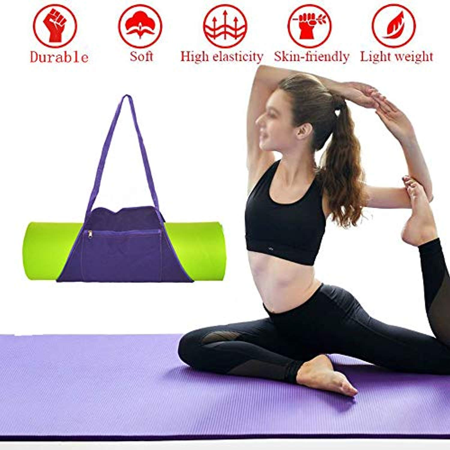 Ationgle Yoga Mat Bag | Outside Zip Closure Pocket | Exercise Yoga Mat Carrier, Sling Shoulder Bag Fits Most Size Mats (MAT is NOT Included), Canvas, Purple