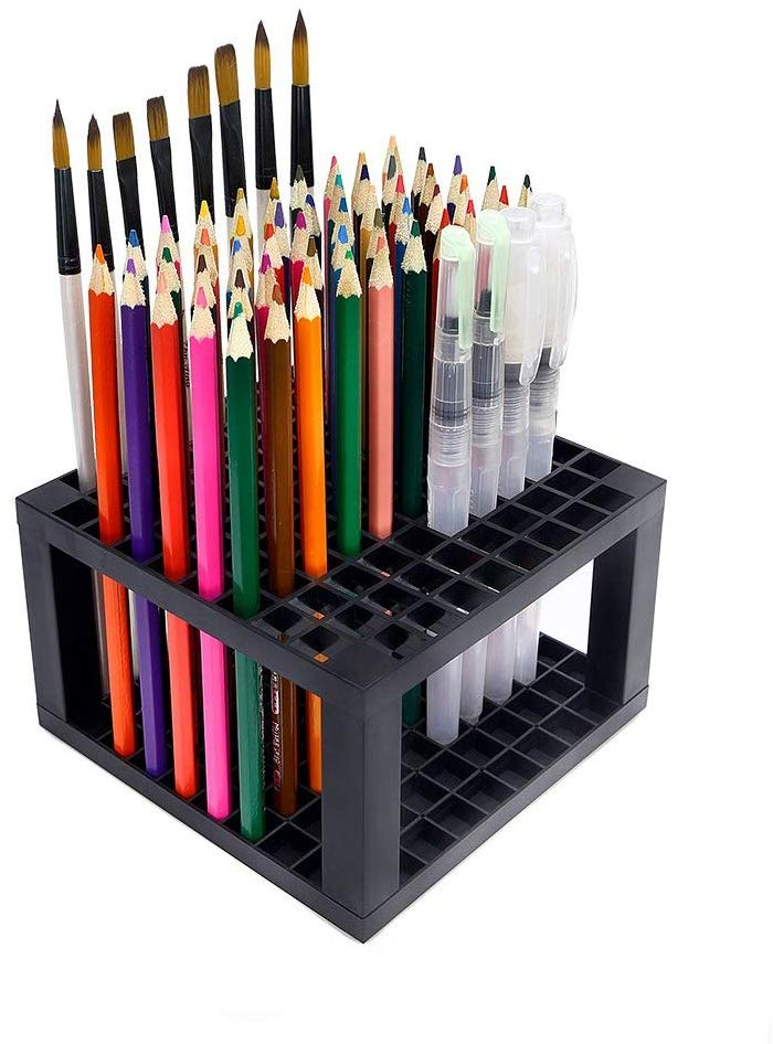 96 Hole Plastic Brush & Pencil Holder - Desk Stand Holding Rack Organizer for Pens, Paint Brushes, Colored Pencils, Markers