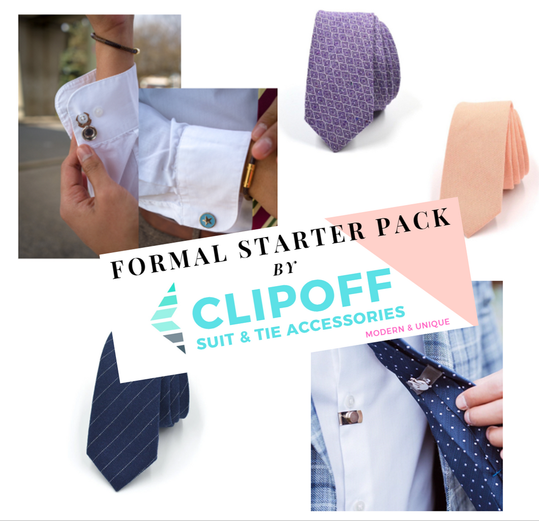 Formal Starter Pack Bundle - CLIP OFF Suit & Tie Accessories