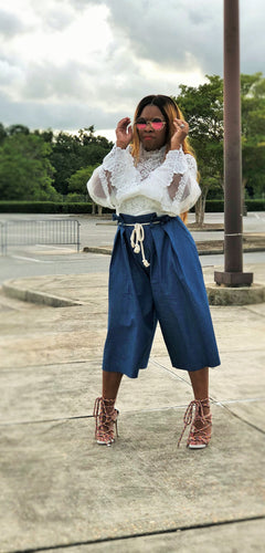 Dark Denim Paper Bag Culotte