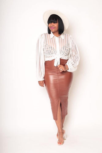 Cognac Faux Leather High Waist  Pencil Skirt