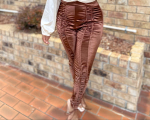 Chocolate Choc Ruched Satin Pants