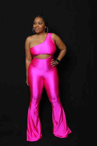 JLo Hot Pink Flare Jumpsuit