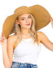 Pretty on Vacation Wide Brim Hat Tan