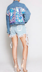 Denim Sequin Jacket