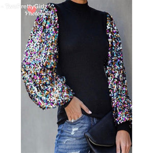 Lisa B Sequin Arm Shirt