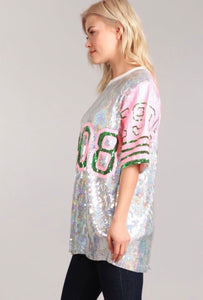 Number 1908 Pink & Green Sequin Dress