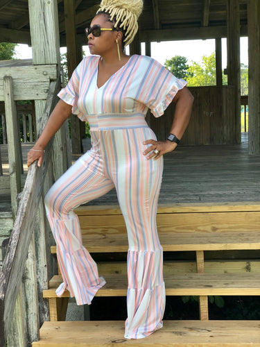 Orange & White Stripe Bell Bottom Jumpsuit
