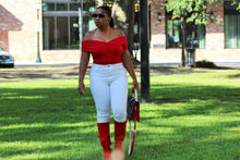 Red,  Off Shoulder Wrap Bodysuit