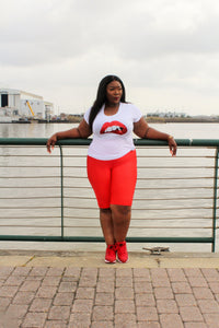 Curvy/Plus White, Red Sequin  Lip T-Shirt