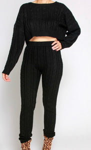 Black Cable Knit Top & Pants Set