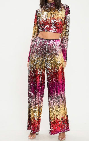 Multi-Color Sequin Two Piece- Crop Top/Mock Neck & Palazzo pants