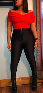 Black, Shiny Coated High Waist Legging with Zipper Front Detail