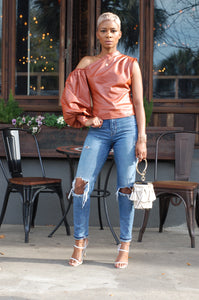 Cognac She Ro Leather look Blouse