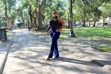 Cobalt Blue, High waist, Flare Velvet Pants