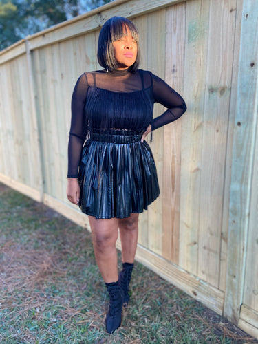 Pretty Diva  Faux Leather Skort Skirt