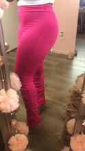 Hot Pink Ruched & Stacked Leggings