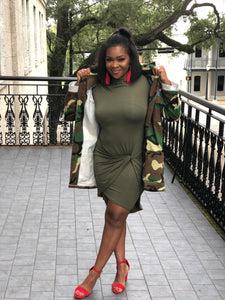 Olive Green, High Neck, Front Tie Dress