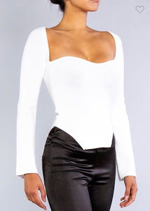 Kelly Ribbed  Sweetheart White Top