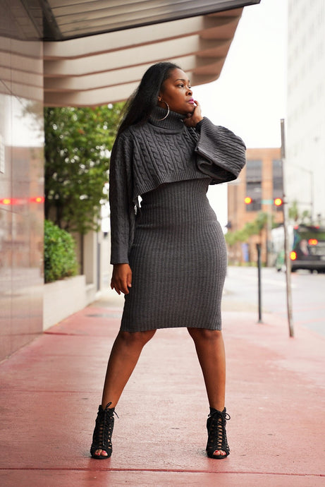 Charcoal Sweater Dress Set
