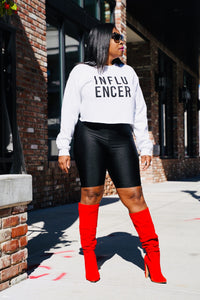 White -Influencer Crop Sweatshirt