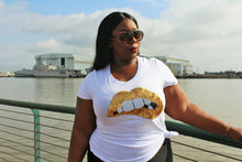 Curvy/Plus White , Gold  Sequin  Lip T-Shirt (Limited Quantities)
