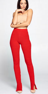 Red Slit Ankle Leggings