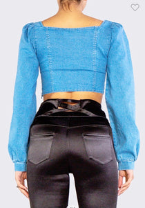 Cordley Square Neck Puff Denim Top