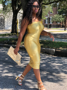 Gold,  Stretchy, BodyCon Midi Dress