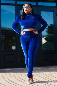 Royal Blue Velvet Two Piece