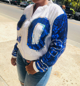 Blue & White Sequin Jacket