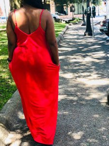 Dark Red Maxi Dress with Pockets