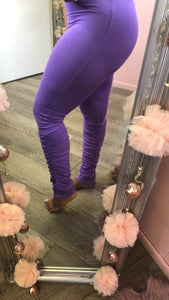 Purple Ruched & Stacked Leggings