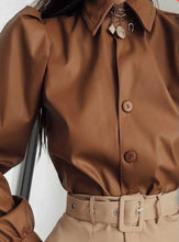 Faux  Leather Vintage Puff Sleeve  Shirt ( 2 Colors)