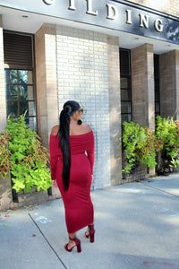 Burgundy, Off-Shoulder Knit Midi-Maxi Dress