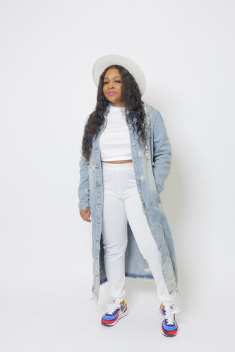 Jaz Stone Distressed Denim Jacket (Curvy plus)