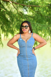 Sassy Denim Zip Dress
