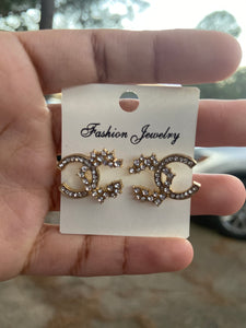 Double C Diamond Encrusted  stud Earrings (Gold & Silver)