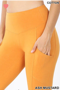 Ash Mustard Yogi Leggings with Pockets (Curvy/Plus)