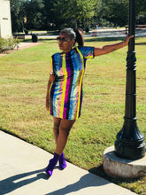 Sequin Multi Stripe Dress  with Tie Open Back