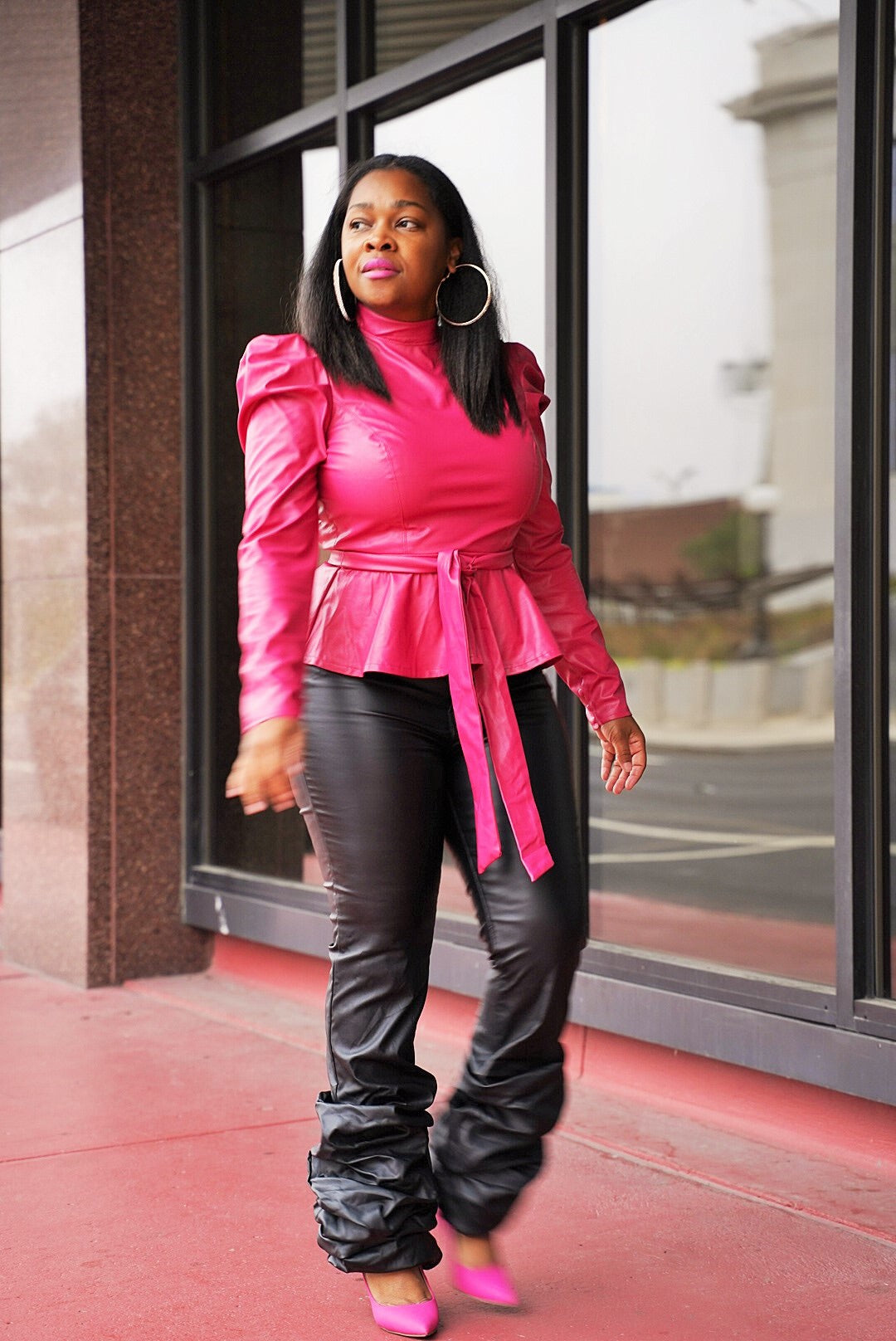 J Mariah  Hot Pink Faux Peplum Shirt