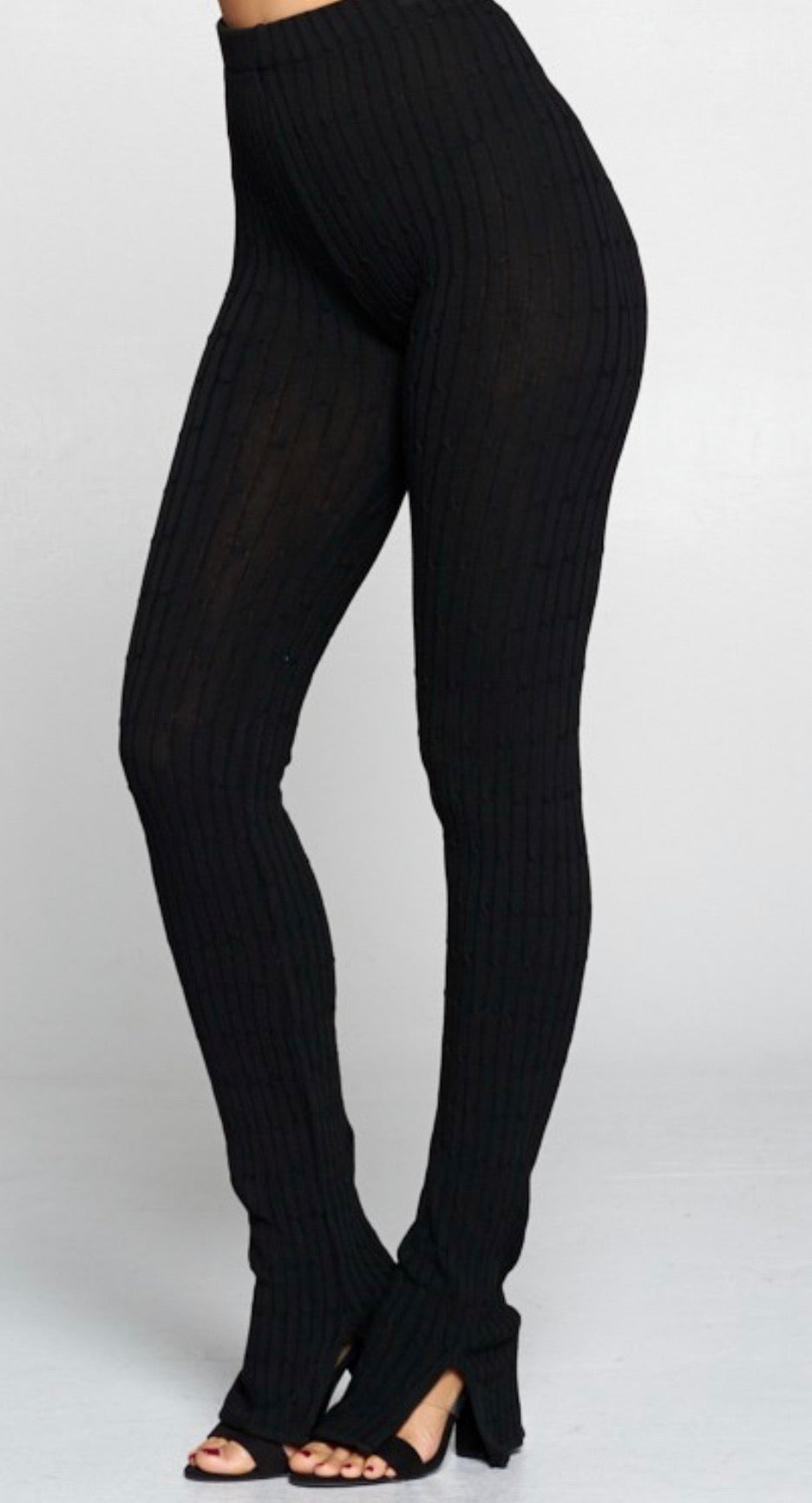 Black Slit Ankle Leggings